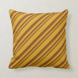 [ Thumbnail: Brown & Goldenrod Colored Lines/Stripes Pattern Throw Pillow ]
