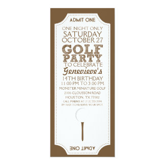 Brown Golf Ticket Golf Birthday Party Invitation