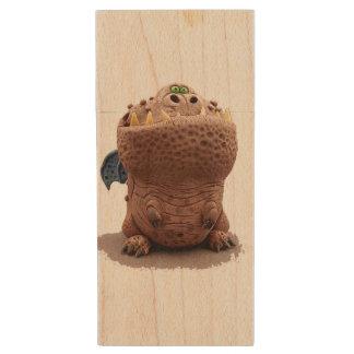 Brown Goofy looking dragon with green eyes Wood USB 2.0 Flash Drive