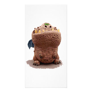 Brown Goofy looking dragon with green eyes Photo Card