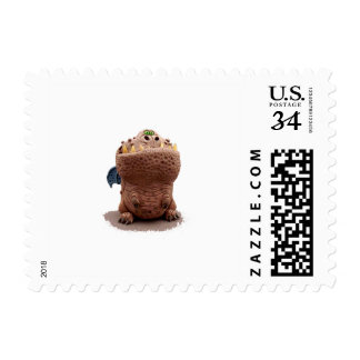Brown Goofy looking dragon with green eyes Postage Stamp