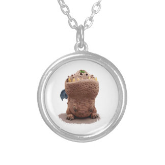 Brown Goofy looking dragon with green eyes Silver Plated Necklace