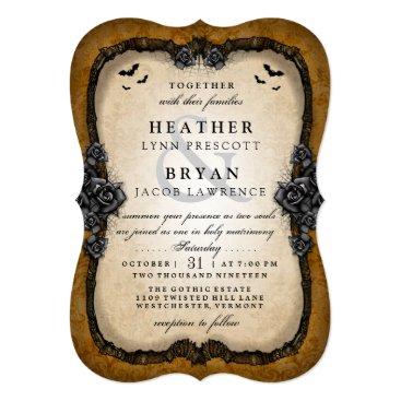 Halloween Themed Brown Gothic Bats Halloween Wedding RECEPTION Back Card