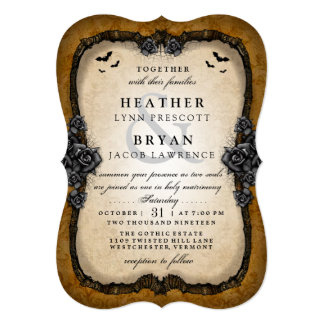 Brown Gothic Bats Halloween Wedding RECEPTION Back Invitation
