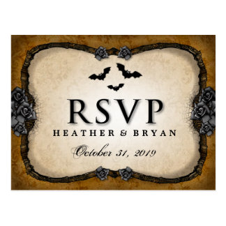 Brown Gothic Bats & Roses RSVP Matching PostCard