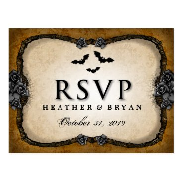 Halloween Themed Brown Gothic Bats & Roses RSVP Matching PostCard
