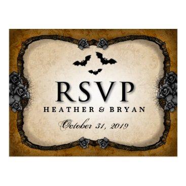 Halloween Themed Brown Gothic Bats & Roses RSVP MENU PostCard