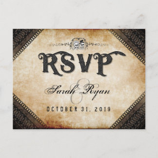Brown Gothic Halloween Skeletons Matching RSVP Invitation Postcard