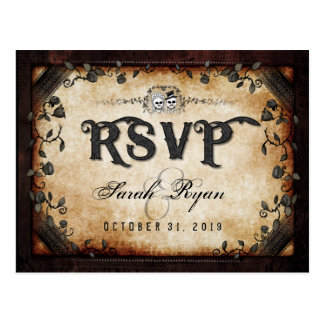 Brown Gothic Halloween Skeletons Matching RSVP Postcard