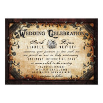 Brown Gothic Halloween Skeletons Wedding Invite