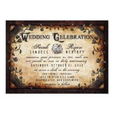 Brown Gothic Halloween Skeletons Wedding Invite at Zazzle