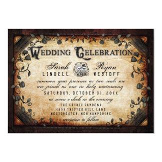 Brown Gothic Halloween Skeletons Wedding Invite