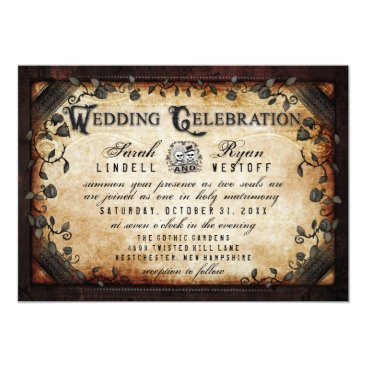 Halloween Themed Brown Gothic Halloween Skeletons Wedding Invite