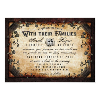 "Brown Gothic Skeletons Wedding ""Together With"" Invitation"