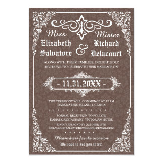 Brown Gothic Victorian Damask Wedding Invites