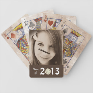 Brown  Graduation Photo Template in Sepia Brown Bicycle Playing Cards