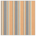 [ Thumbnail: Brown, Gray, and Pale Goldenrod Colored Stripes Fabric ]