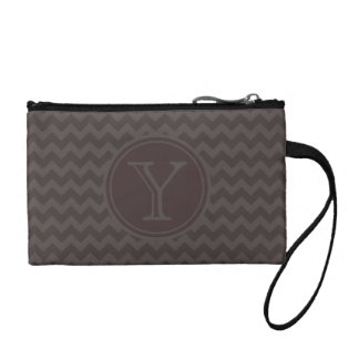 Brown Gray Chevron Pattern with Monogram Coin Wallet