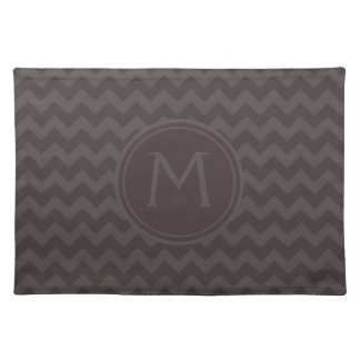 Brown Gray Chevron Pattern with Monogram Cloth Placemat