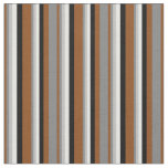 [ Thumbnail: Brown, Gray, Grey, White, and Black Pattern Fabric ]