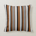 [ Thumbnail: Brown, Gray, Grey, White, and Black Pattern Pillow ]