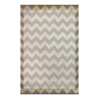 Brown Gray Grunge Chevron Rustic Zigzag Pattern Stationery