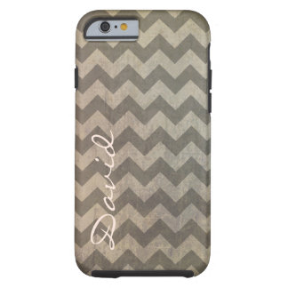 Brown Gray Grunge Chevron Zigzag Pattern Monogram Tough iPhone 6 Case