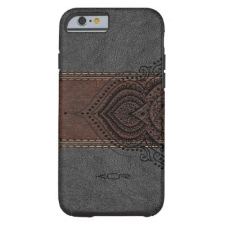 Brown & Gray Leather With Black Lace Accent Tough iPhone 6 Case