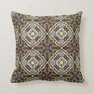 Brown Gray Ochre Burnt Orange Bali Batik Pattern Throw Pillow