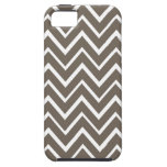 Brown gray whimsical zigzag chevron pattern iPhone 5 cover