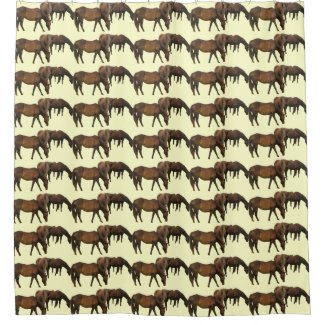 Brown Grazing Horses Animal Shower Curtains