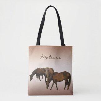 Brown Grazing Horses Animal Tote Bag