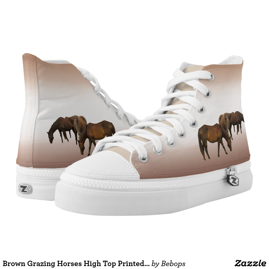 Brown Grazing Horses High Top Printed Shoes