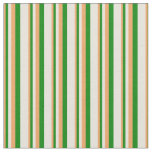 [ Thumbnail: Brown, Green, and Beige Colored Stripes Fabric ]