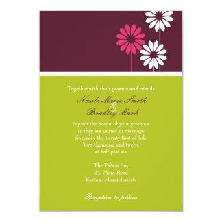 Brown Green and Fuchsia Daisy Wedding Invitation