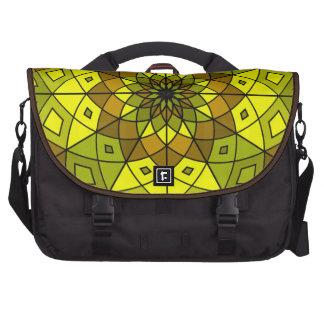 brown, green, and yellow stained glass rosette laptop bags