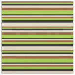 [ Thumbnail: Brown, Green, Black & Tan Colored Stripes Pattern Fabric ]