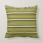 [ Thumbnail: Brown, Green, Black & Tan Colored Stripes Pattern Throw Pillow ]