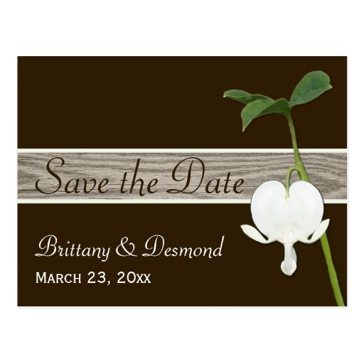 Brown Green Bleeding Heart Save the Date Postcard