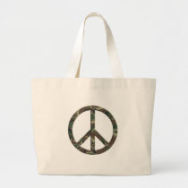 Brown Green Camo Peace Sign Large Tote Bag