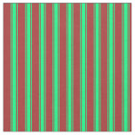 [ Thumbnail: Brown & Green Colored Pattern of Stripes Fabric ]