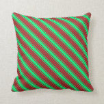 [ Thumbnail: Brown & Green Colored Pattern of Stripes Pillow ]