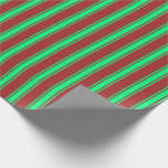 [ Thumbnail: Brown & Green Colored Pattern of Stripes Wrapping Paper ]
