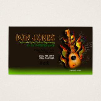 Brown Green Flamming Guitar Business Card