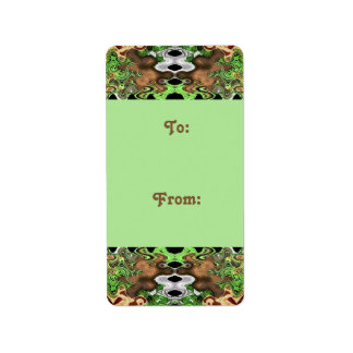 brown green Gift tags Custom Address Labels