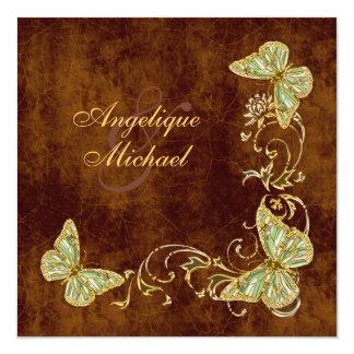 Brown green gold country wedding custom invitations
