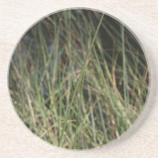 Brown green grass background design photo coasters
