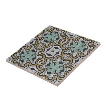 LolasClassyCeramics Brown Green Gray Retro Chic Nouveau Deco Pattern Ceramic Tile