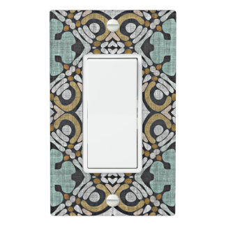 Brown Green Gray Retro Chic Nouveau Deco Pattern Light Switch Cover