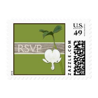 Brown Green Ivory Bleeding Heart RSVP Postage